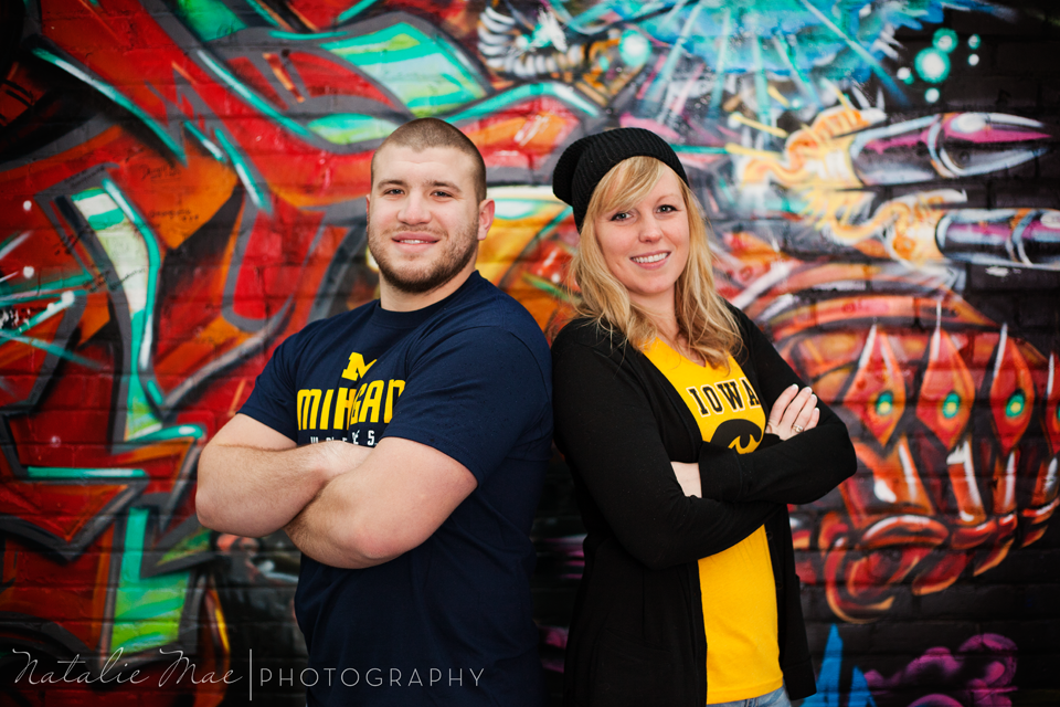 This graffiti was perfect for their Detroit engagement session