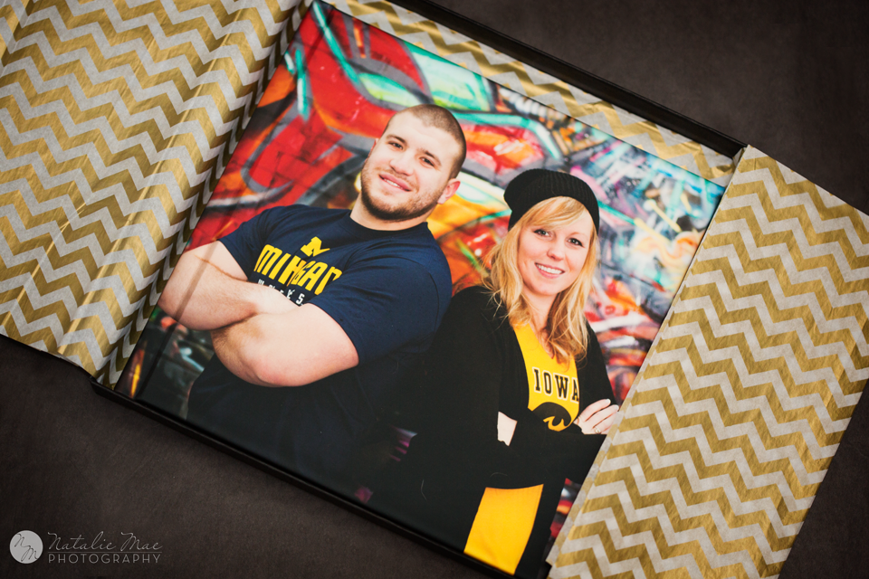 Aubree and Jake's album looks gorgeous with the gold chevron and black ostrich box. Photography packaging.