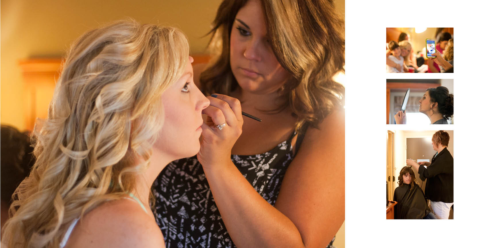 Bride and bridesmaids getting ready at the hotel.