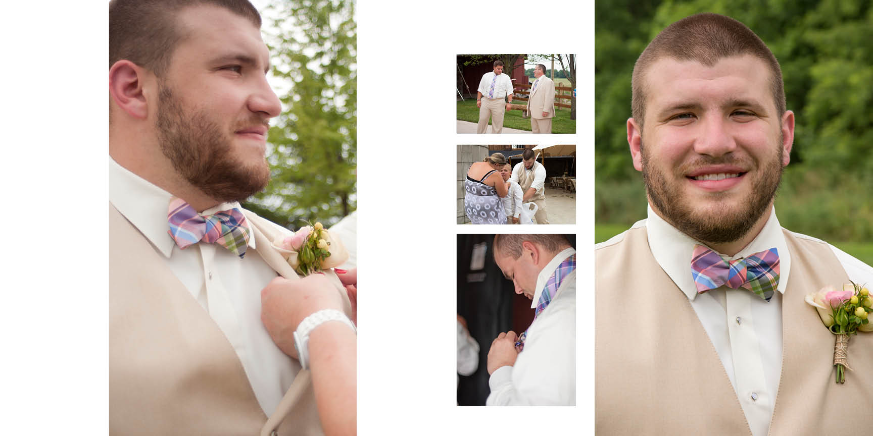 Handsome groom, Jake, and groomsmen get ready before the ceremony.