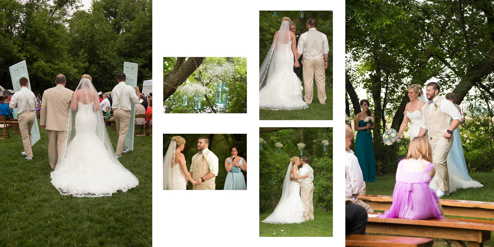 Vintage chic outdoor wedding ceremony on the grounds of Misty Farms